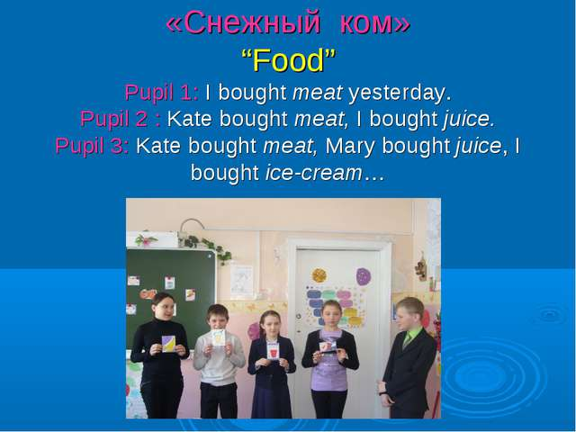 "«Снежный ком» ""Food"" Pupil 1: I bought meat yesterday. Pupil 2 : Kate bought..."