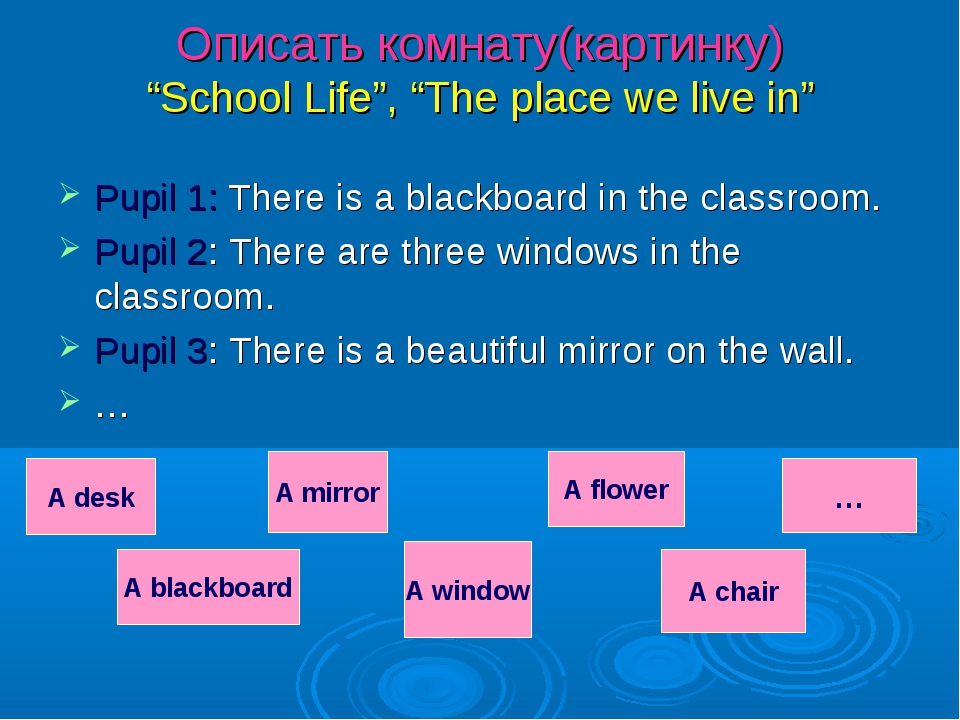 """Описать комнату(картинку) """"School Life"""", """"The place we live in"""" Pupil 1: Ther..."""