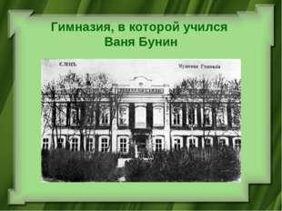 Гимназия, в которой учился Ваня Бунин
