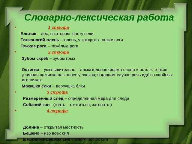 Словарно-лексическая работа 1 строфа Ельник – лес, в котором растут ели. Тонк...