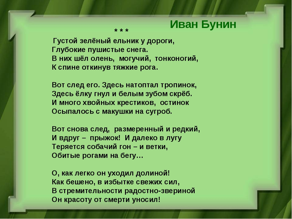 Иван Бунин * * * Густой зелёный ельник у дороги, Глубокие пушистые снега....