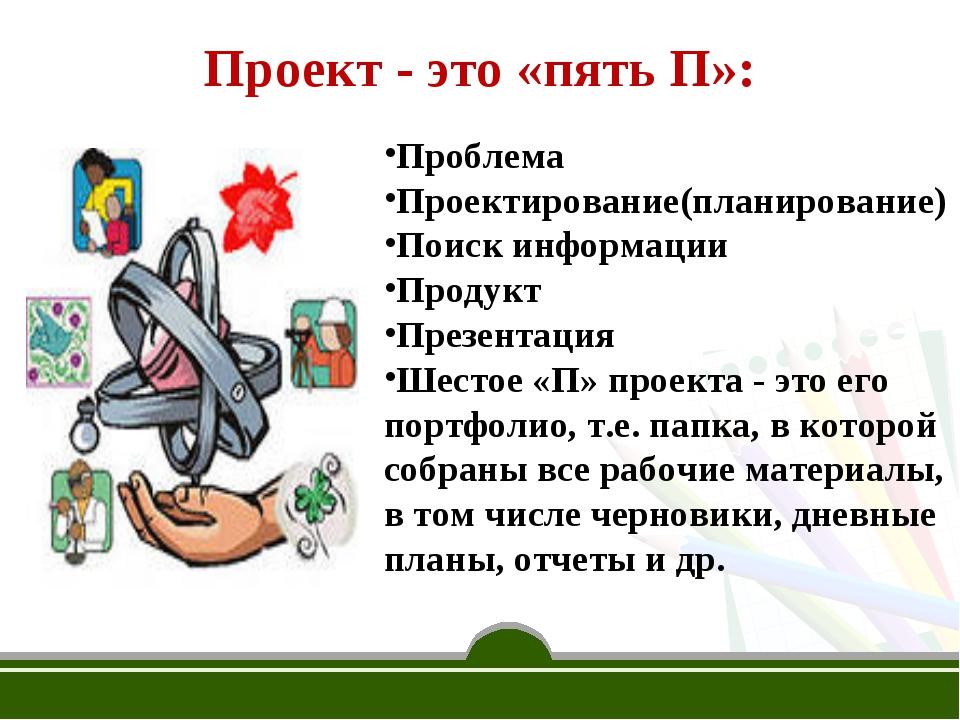 Проект - это «пять П»: Проблема Проектирование(планирование) Поиск информации...