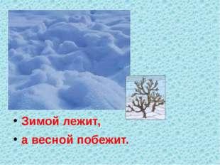 Зимой лежит, а весной побежит.