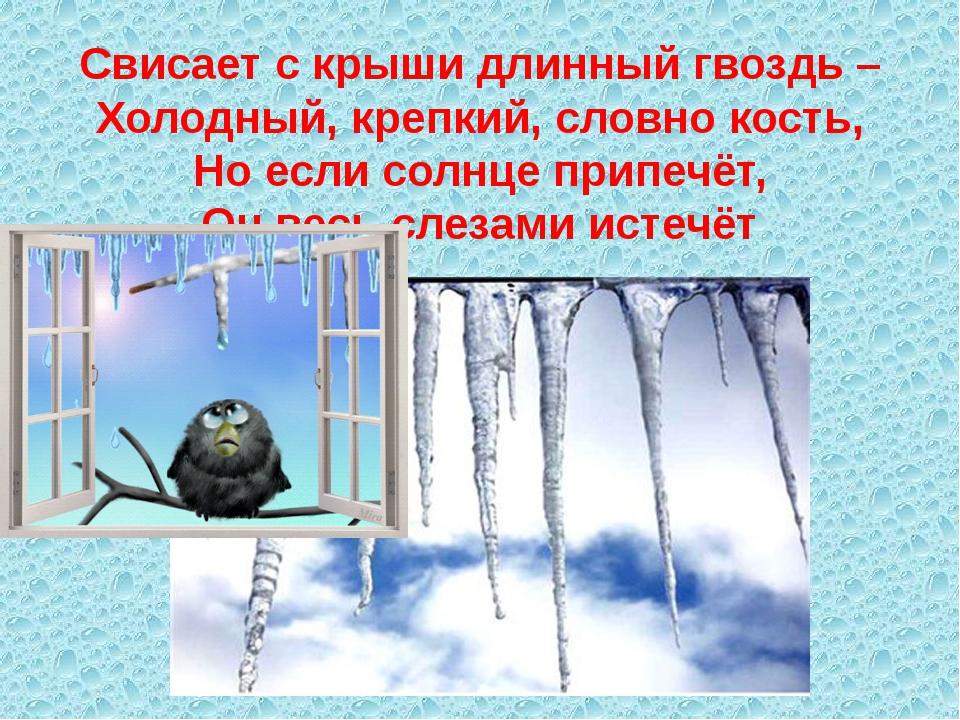 Свисает с крыши длинный гвоздь – Холодный, крепкий, словно кость, Но если сол...