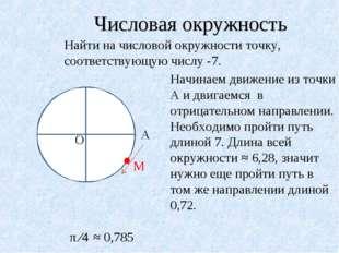 Числовая окружность Найти на числовой окружности точку, соответствующую числу