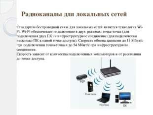 Радиоканалы для локальных сетей Стандартом беспроводной связи для локальных с