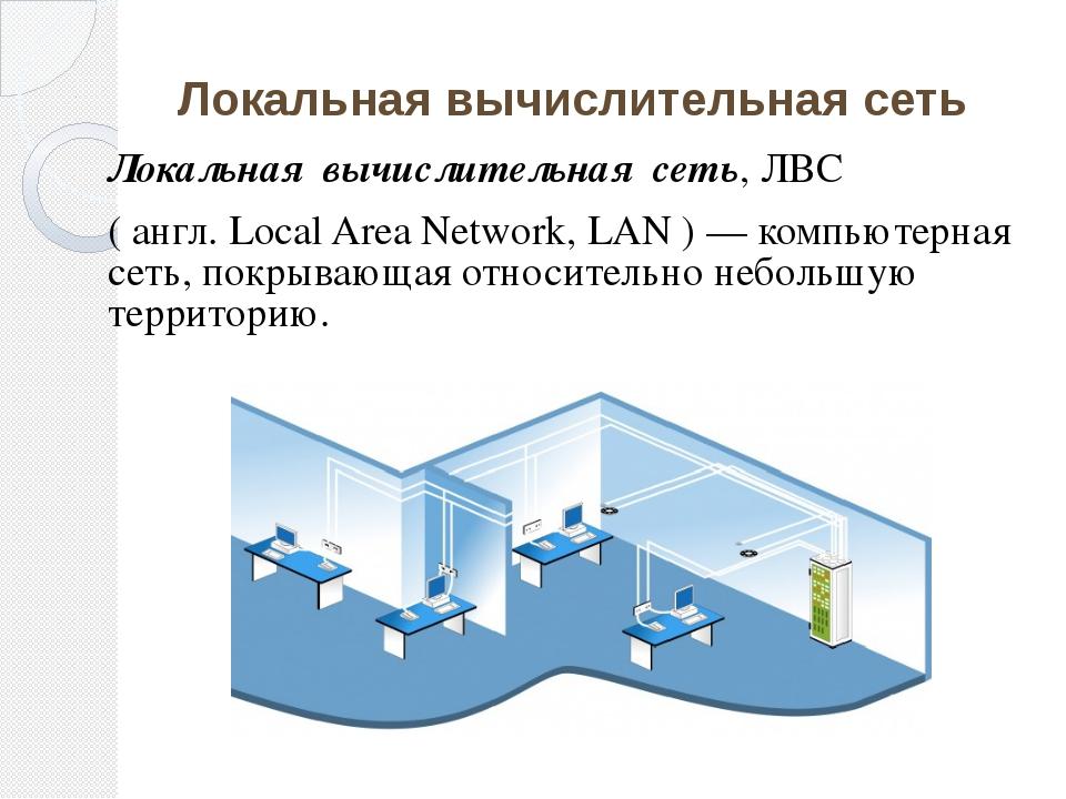 Локальная вычислительная сеть Локальная вычислительная сеть, ЛВС ( англ. Loca...
