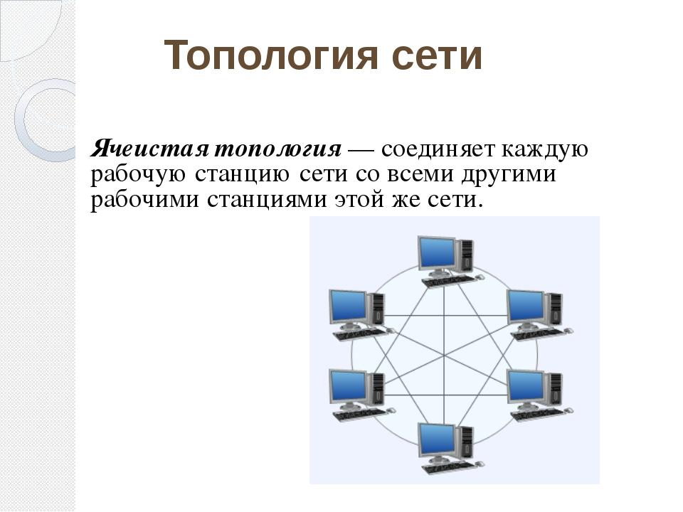 Ячеистая топология — соединяет каждую рабочую станцию сети со всеми другими...