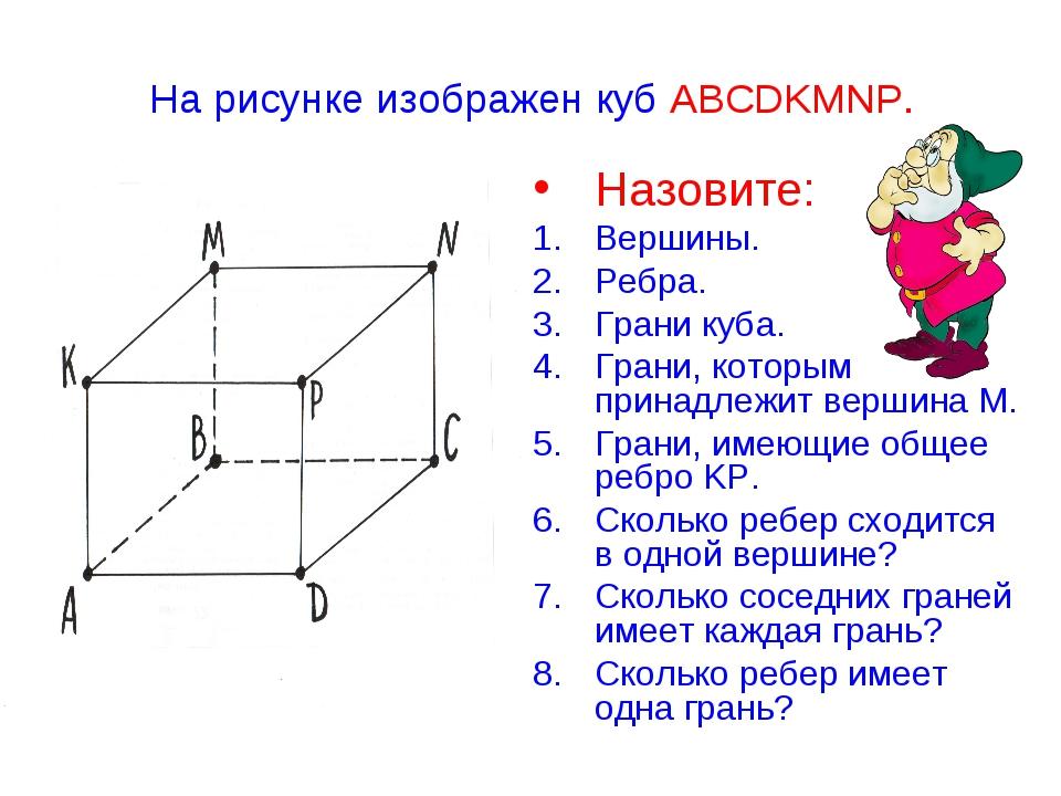 На рисунке изображен куб ABCDKMNP. Назовите: Вершины. Ребра. Грани куба. Гран...