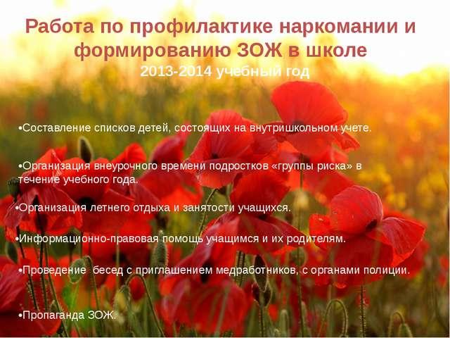 Работа по профилактике наркомании и формированию ЗОЖ в школе 2013-2014 учебны...