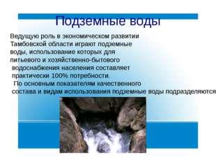 Подземные воды Ведущую роль в экономическом развитии Тамбовской области играю