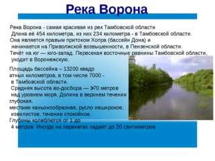 Река Ворона Площадь бассейна – 13200 квадр атных километров, в том числе 7000