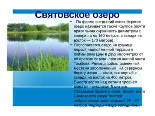 Святовское озеро По форме очертаний своих берегов озеро называется также Круг