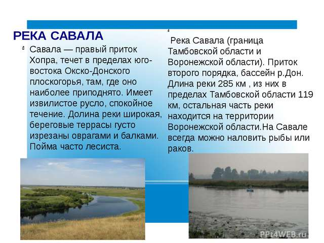 РЕКА САВАЛА Савала — правый приток Хопра, течет в пределах юго-востока Окско-...