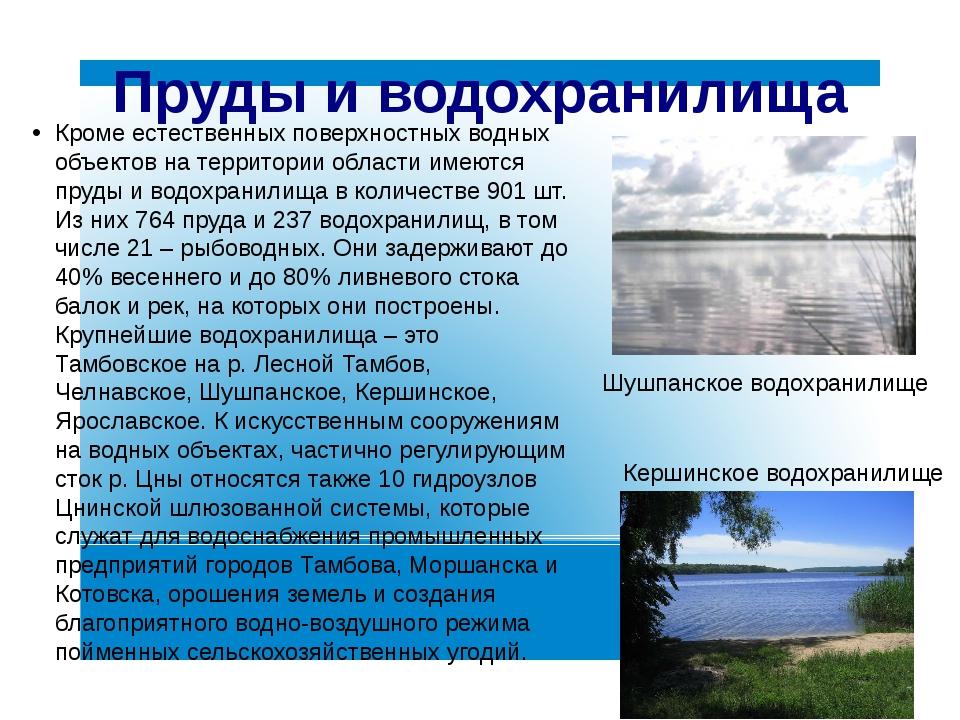 Пруды и водохранилища Кроме естественных поверхностных водных объектов на тер...