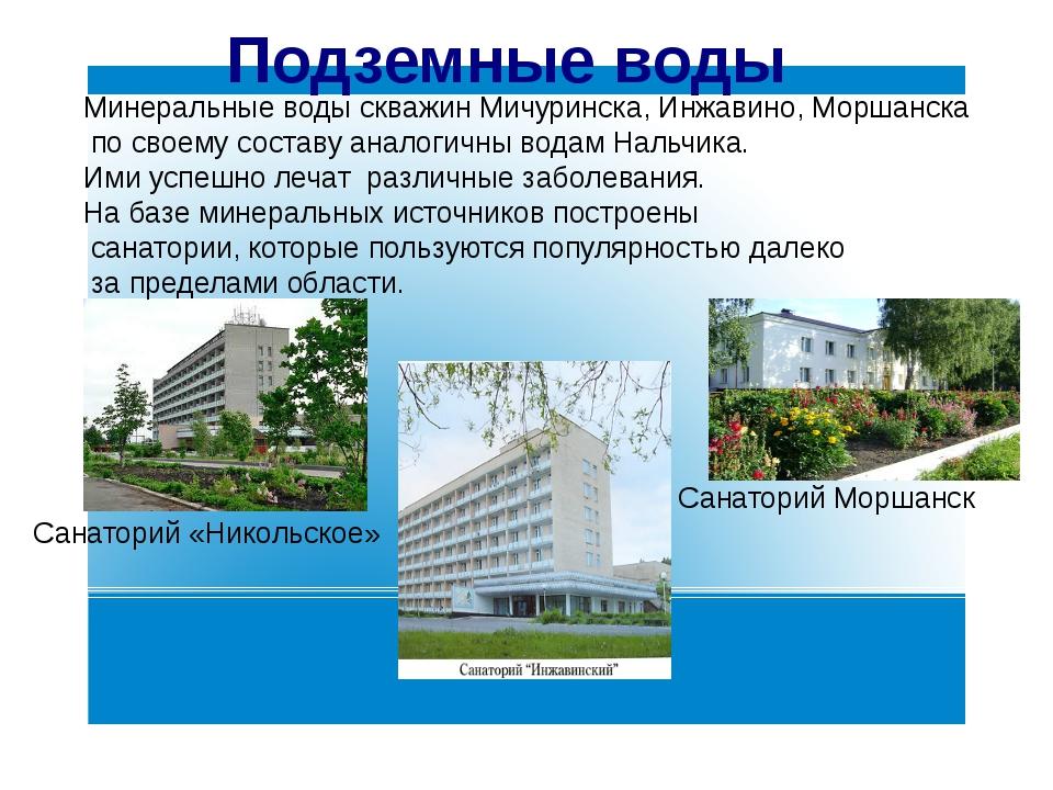 Подземные воды Санаторий «Никольское» Санаторий Моршанск Минеральные воды ск...