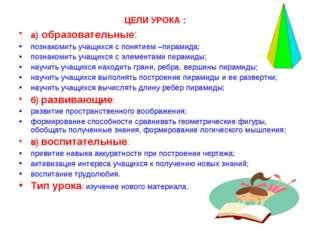 ЦЕЛИ УРОКА : а) образовательные: познакомить учащихся с понятием –пирамида; п
