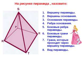 На рисунке пирамида , назовите: Вершину пирамиды. Вершины основания. Основани