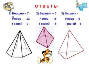 О Т В Е Т Ы Вершин – 7 2) Вершин – 5 3) Вершин - 4 Ребер - 12 Ребер - 8 Ребер