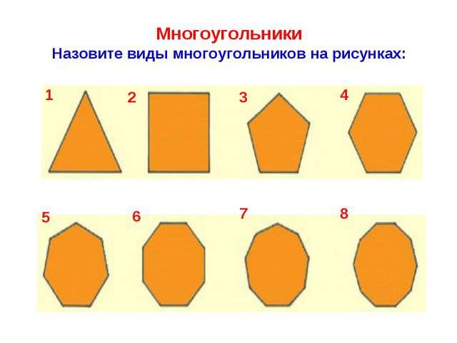 Многоугольники Назовите виды многоугольников на рисунках: 1 2 3 4 5 6 7 8