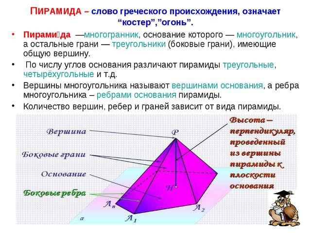 """ПИРАМИДА – слово греческого происхождения, означает """"костер"""",""""огонь"""". Пирами́..."""