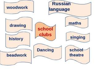 school clubs Russian language maths maths s singing s school theatre dd Danci