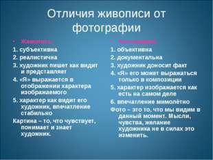 Отличия живописи от фотографии Живопись: 1. субъективна 2. реалистична 3. худ