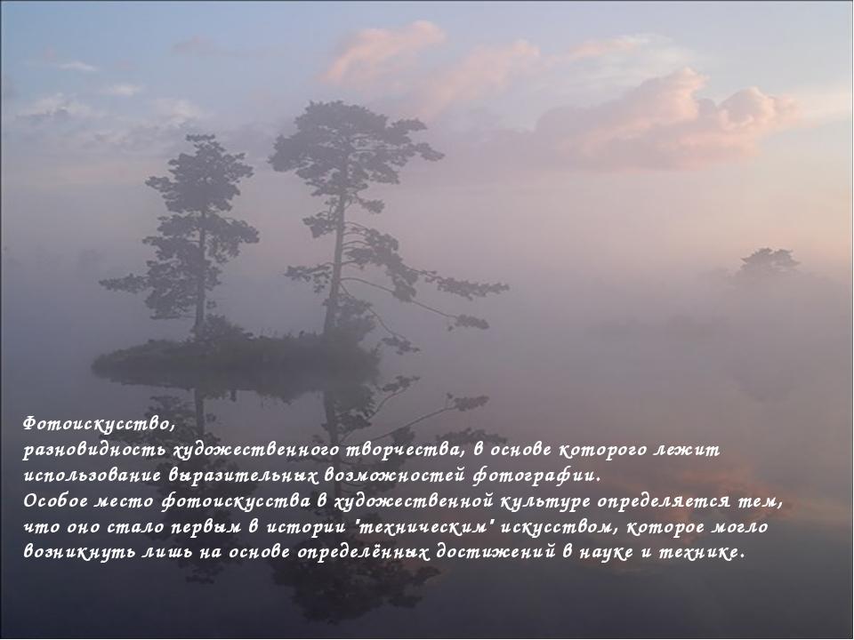 Фотоискусство, разновидность художественного творчества, в основе которого ле...