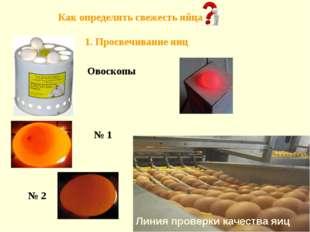 Овоскопы Линия проверки качества яиц Как определить свежесть яйца 1. Просвечи