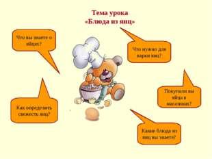Тема урока «Блюда из яиц» Что вы знаете о яйцах? Как определить свежесть яиц?
