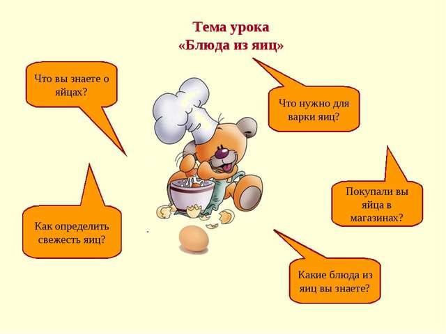 Тема урока «Блюда из яиц» Что вы знаете о яйцах? Как определить свежесть яиц?...