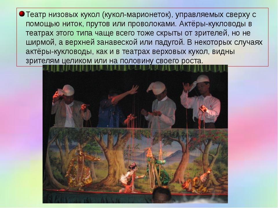 Театр низовых кукол (кукол-марионеток), управляемых сверху с помощью ниток, п...
