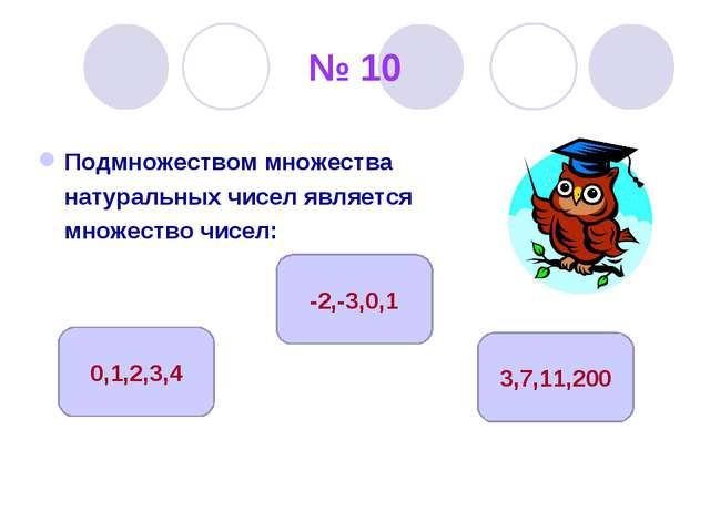 № 10 Подмножеством множества натуральных чисел является множество чисел: 3,7,...