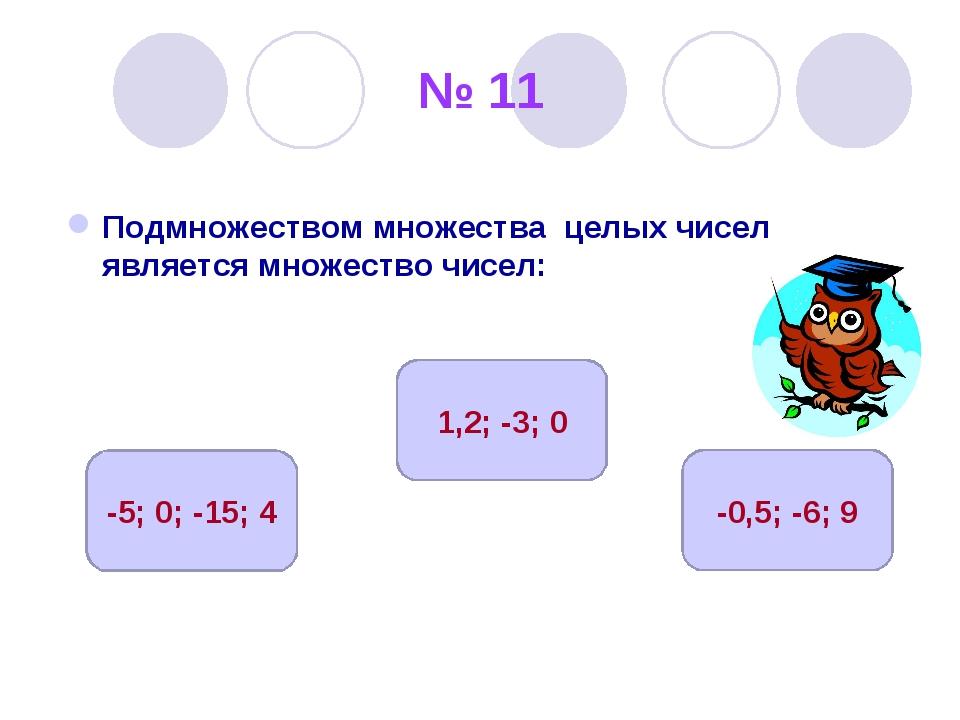 № 11 Подмножеством множества целых чисел является множество чисел: -5; 0; -15...