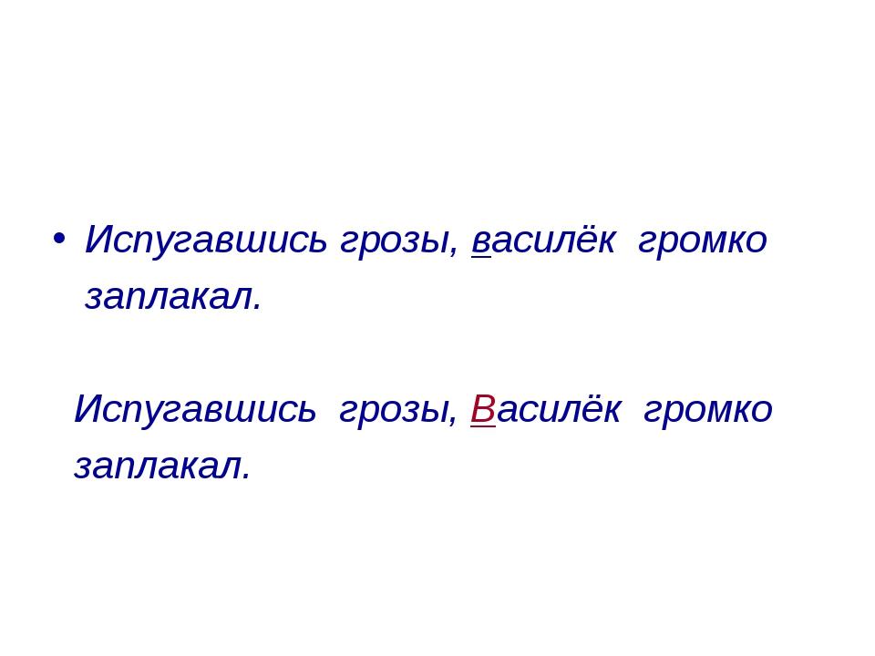 Испугавшись грозы, василёк громко заплакал. Испугавшись грозы, Василёк громк...