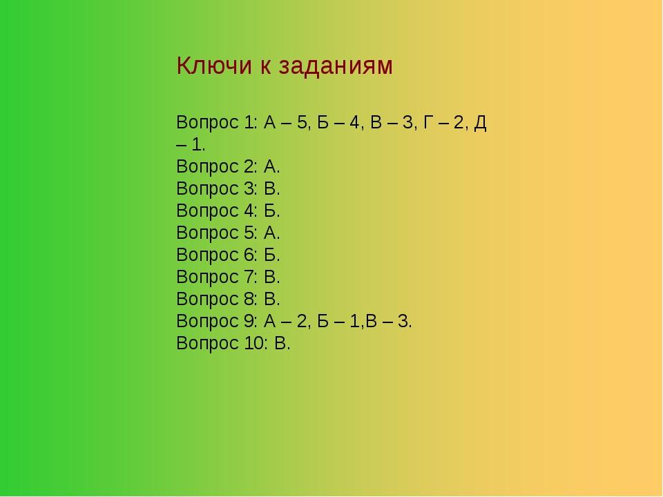 Ключи к заданиям Вопрос 1: А – 5, Б – 4, В – 3, Г – 2, Д – 1. Вопрос 2: А. Во...