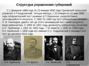 Структура управления губернией С 1 февраля 1888 года по 20 января 1892 года