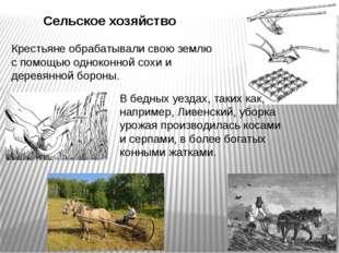 Сельское хозяйство Крестьяне обрабатывали свою землю с помощью одноконной сох