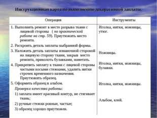 Инструкционная карта по выполнению декоративной заплаты. ОперацияИнструменты