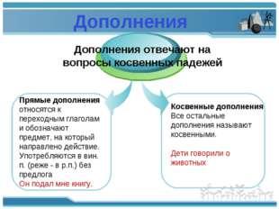 Дополнения Прямые дополнения относятся к переходным глаголам и обозначают пре