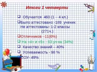Итоги 1 четверти Обучается 460 (1 – 4 кл.) Было аттестовано -189 ученик Не ат