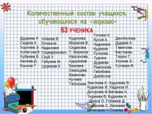 Количественный состав учащихся, обучающихся на «хорошо» 63 УЧЕНИКА Дудаева К