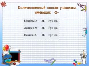 Количественный состав учащихся, имеющих «2» Брциева А 3БРус .яз. Джиоев М3