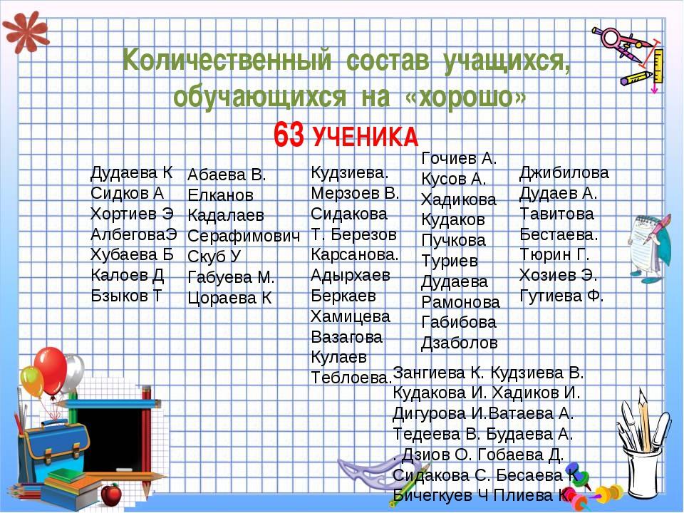 Количественный состав учащихся, обучающихся на «хорошо» 63 УЧЕНИКА Дудаева К...