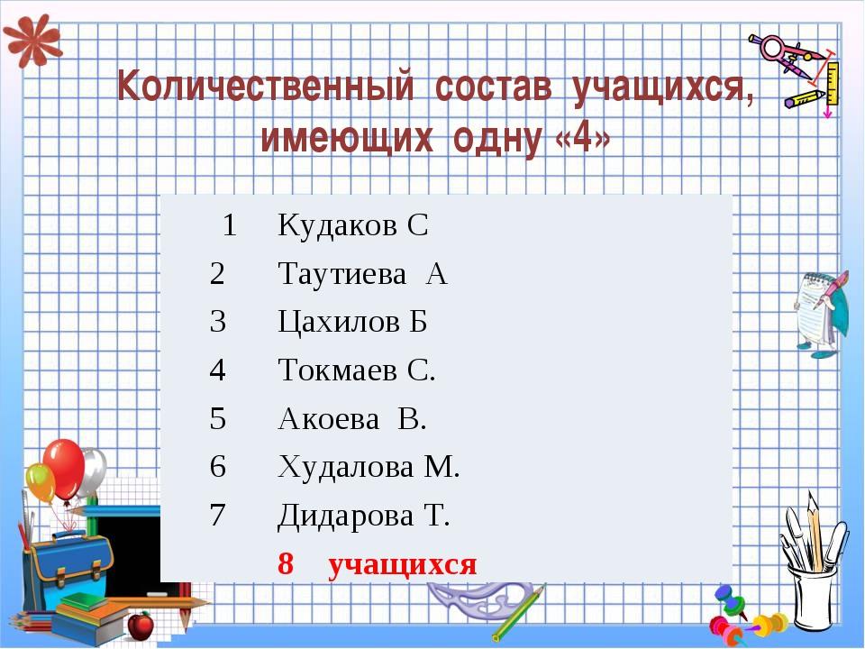 Количественный состав учащихся, имеющих одну «4» 1Кудаков С 2Таутиева А 3Ц...