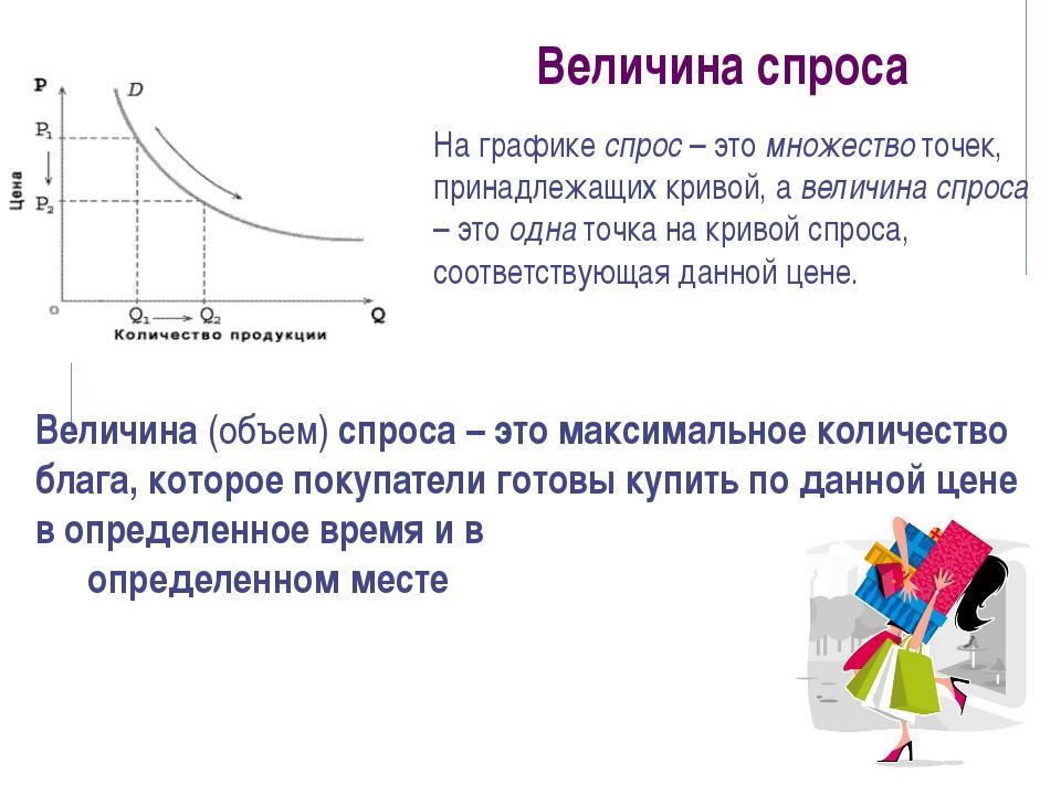 Величина спроса Величина (объем) спроса – это максимальное количество блага,...