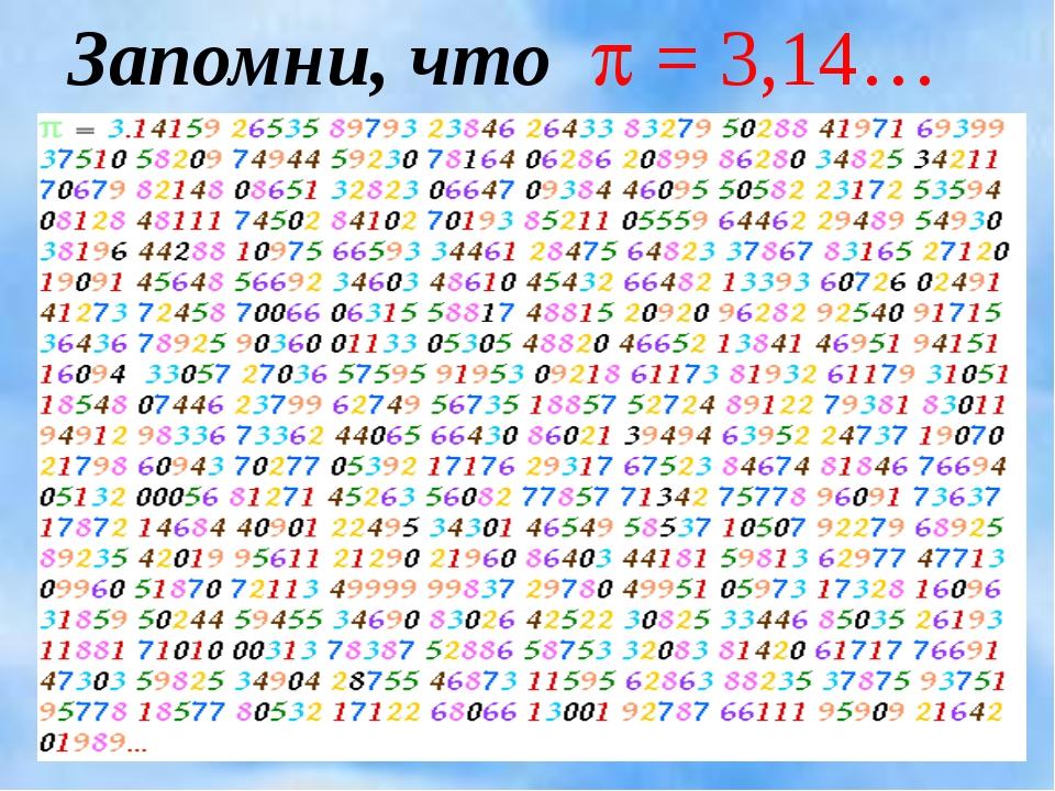 Запомни, что  = 3,14…