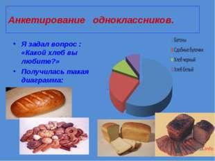 Анкетирование одноклассников. Я задал вопрос : «Какой хлеб вы любите?» Получи