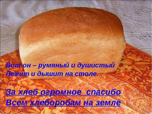 Вот он – румяный и душистый Лежит и дышит на столе. За хлеб огромное спасибо...
