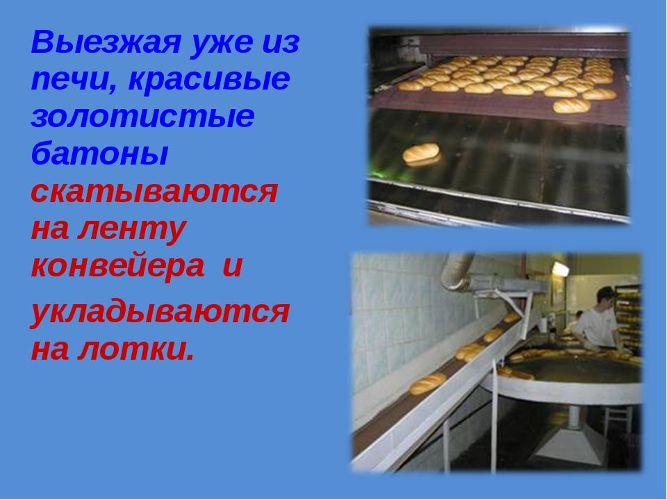 Выезжая уже из печи, красивые золотистые батоны скатываются на ленту конвейер...